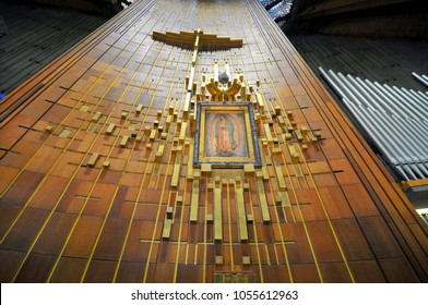 November 1, 2010. Image of Our Lady of Guadalupe in the New Basilica in Mexico City.