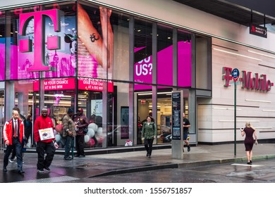 November 1, 2019 - New York City. T Mobile store in downtown NYC.