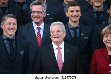 NOVEMBER 10, 2014 - BERLIN: Joachim Gauck, Angela Merkel - official reception of the German national football team (world champion 2014) at the Schloss Bellevue by the German Federal President.