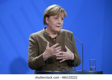 NOVEMBER 10, 2015 - BERLIN: German Chancellor Angela Merkel at a press conference after a meeting with the South African President in the Federal Chanclery in Berlin.