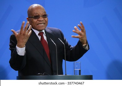 NOVEMBER 10, 2015 - BERLIN: South African President Jacob Zuma at a press conference after a meeting with the German Chancellor in the Federal Chanclery in Berlin.