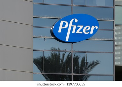 November 10, 2017; Herzliya, Israel. Pfizer logo on the exterior wall of their Israel corporate headquarters