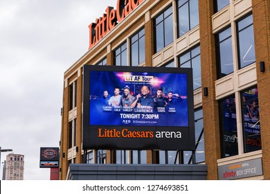 November 10, 2018. Little Caesars Arena. Sign. Little Caesars Arena is a multi-purpose arena in Midtown Detroit. Detroit, Michigan. USA.
