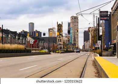 November 10. 2018. View on Street of Downtown Detroit in Michigan. Detroit. MI, USA
