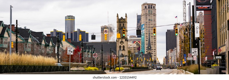 November 10. 2018. View on Street of Downtown Detroit in Michigan. Detroit. MI, USA. Panoramic image. Selective focus.