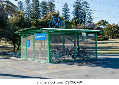 November 11, 2015: bike shelter beside Cottesloe Train Station, which is located in Perth, Western Australia.
