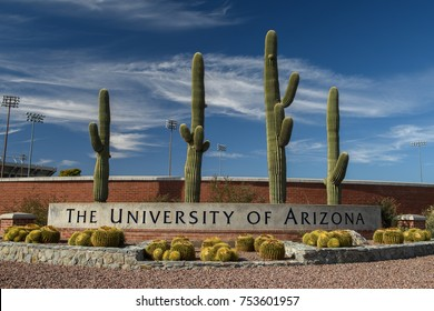 November 11, 2017: The entrance sign to the campus of the University of Arizona in Tucson, Arizona. (7428)