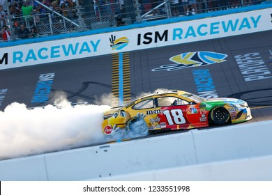 November 11, 2018 - Avondale, Arizona, USA: Kyle Busch (18) takes the checkered flag and wins the Can-Am 500(k) at ISM Raceway in Avondale, Arizona.