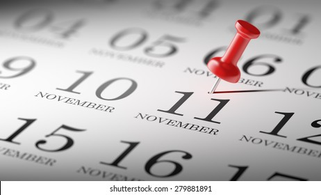 November 11 written on a calendar to remind you an important appointment.