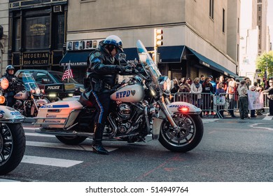 November 11th 2016 - New York City - At the Veterans Day Parade in NYC, a NYPD motorcycle sits.
