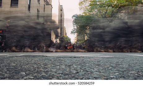 November 11th 2016 - New York City - At the Veterans Day Parade in NYC, a blur of all the passing by army soldiers on 5th avenue.