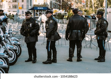 November 11th 2017 - New York, NY - At the Veterans day parade, A group of highway patrol motorcycle police gather to start the parade.