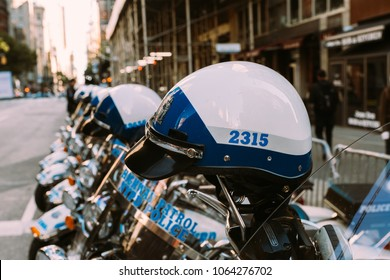 November 11th 2017 - New York, NY - At the Veterans day parade, a row of NYPD highway patrol motorcycles sit lined up.