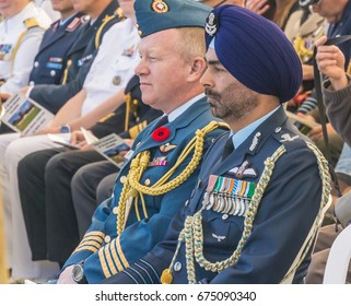 November 12, 2015, Haifa, Annual ceremony of commemoration of Indian soldiers killed in the Battle of Haifa in the First World War. Officers from different countries sit together at the ceremony.