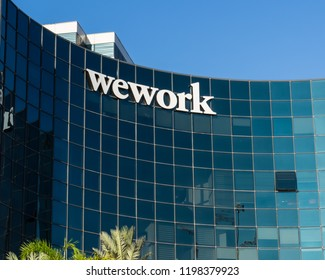November 12, 2017; Herzliya, Israel. Modern futuristic architecture building housing WEWORK Offices.  WeWork is a global network of workspaces for freelancers, startups and small businesses.