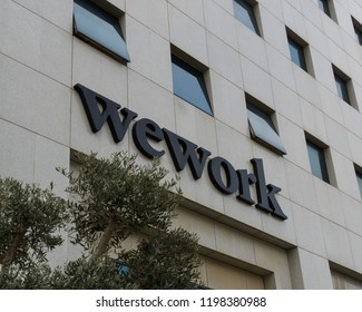 November 12, 2017; Herzliya, Israel. Building housing WEWORK Offices. WeWork is a global network of workspaces for freelancers, startups and small businesses.