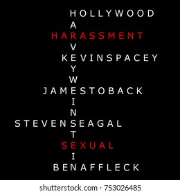 NOVEMBER 12, 2017: An illustration of sexual harassment in Hollywood as shown by crossword of names those who has been accused.