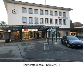 November 12 2018 train station in Burgdorf in Switzerland.