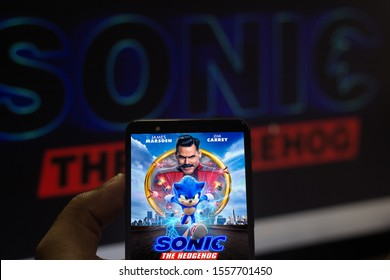 November 12, 2019, Brazil. In this photo illustration the Sonic The Hedgehog movie logo is displayed on a smartphone.