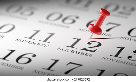 November 12 written on a calendar to remind you an important appointment.