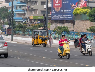November 12,2018. Visakhapatnam, India. Morning Traffic at Beach Road at Vizag.