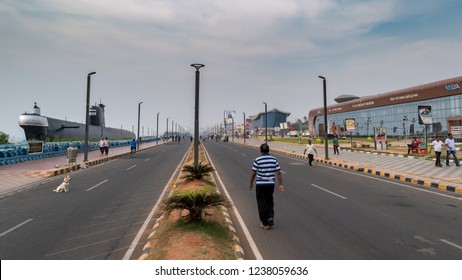 November 12,2018. Visakhapatnam, India. People doing various Healthy morning activities on the Beach Road at vizag.