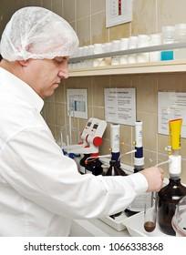 November 13 2012, Danone factory chemistry department make tests in Luleburgaz town, Istanbul, Turkey