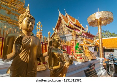 November 13, 2014. Line of Golden Buddhas at Wat Phrathat Doi Suthep Chiang Mai Thailand.