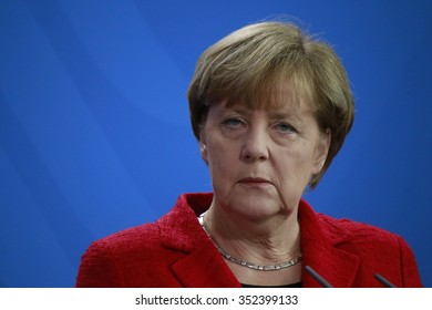 NOVEMBER 13, 2015 - BERLIN: German Chancellor Angela Merkel at a press conference after a meeting with the Australian Prime Minister in the Federal Chanclery.