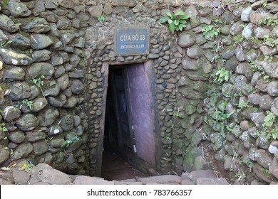 November 13, 2017, bomb collection at entrance of underground village museum : the VINH MOC tunnels in QUANG TRI province, VIETNAM, built by village people to save their life for years in VIETNAM war.