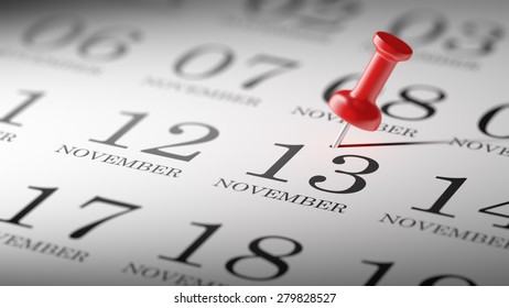 November 13 written on a calendar to remind you an important appointment.