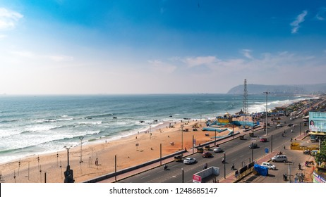 November 13,2018. Visakhapatnam, India. Top View of Ramakrishna beach of Vizag city.