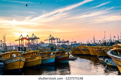 November 13,2018. Visakhapatnam,India. Fishing boats or Trawler are standing on the port of Vizag at the time of Sunset.