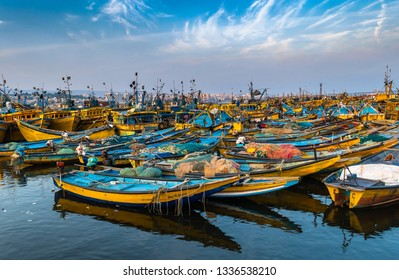 November 13,2018. Visakhapatnam,India. Fishing boats or Trawler on the port of Vizag at the time of Sunset.