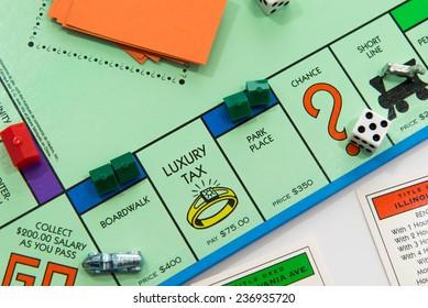 November 14, 2014.  Houston, TX, USA.   Monopoly board game