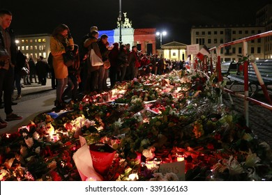 NOVEMBER 14, 2015 - BERLIN:  mourning at the French Embassy in Berlin for the victims of the massacres in Paris of November 13, 2015.