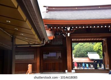 November 14, 2017 - Architecture of the Meiji Shrine, the Shinto shrine dedicated to the Emperor Meiji, Shibuya, Tokyo, Japan