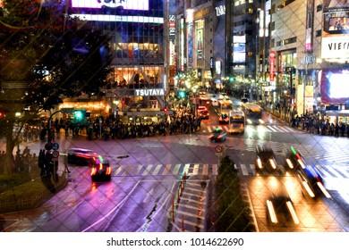 November 14, 2017 - Shibuya, Tokyo, Japan - crossing at Hachiko Square, Shibuya shopping street on a rainy day