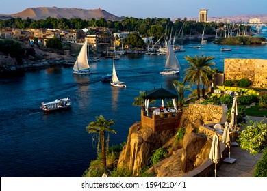 NOVEMBER 14, 2019 - ASWAN EGYPT - Sailing on the Nile at Catarct, Aswan, Egypt