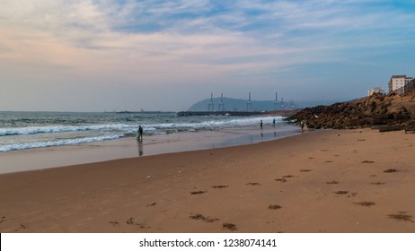 November 14,2018. Visakhapatnam, India. Rocky beach of vizag overlooking the famous Dolphin's Nose and Gangavaram Port.