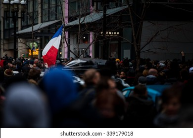 November 14th 2015, Montreal Canada. People Grouping in front of the France consulate in memory of the Jihadists ISIS Terrorist Raid in Paris