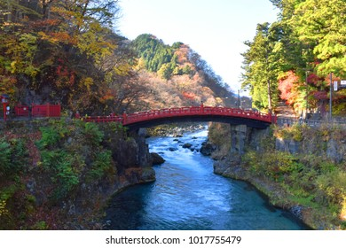 November 15, 2017 - Nikko, Japan,  the famous red bridge known as Shinkyo Bridge