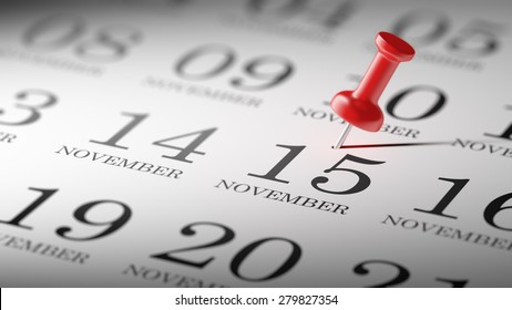 November 15 written on a calendar to remind you an important appointment.