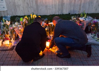 November 15th 2015, Tokyo, Japan. People lighting candles in front of the Embassy of France in memory of the Jihadists ISIS Terrorist Raid in Paris