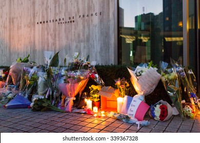 November 15th 2015, Tokyo, Japan. People organized a vigil in front of the Embassy of France in memory of the Jihadists ISIS Terrorist Raid in Paris