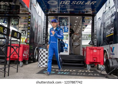 November 16, 2018 - Homestead, Florida, USA: Kyle Larson (42) gears up to practice for the Ford 400 at Homestead-Miami Speedway in Homestead, Florida.