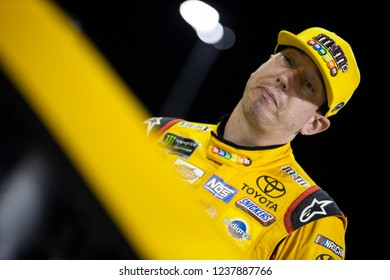 November 16, 2018 - Homestead, Florida, USA: Kyle Busch (18) gets ready to qualify for the Ford 400 at Homestead-Miami Speedway in Homestead, Florida.