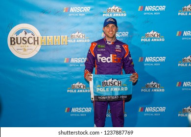 November 16, 2018 - Homestead, Florida, USA: Denny Hamlin (11) wins the Busch Pole Award for the Ford 400 at Homestead-Miami Speedway in Homestead, Florida.