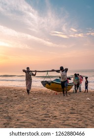 November 16,2018. Puri, Odisha, india. Fishermen toeing their fishing boat to Puri beach.