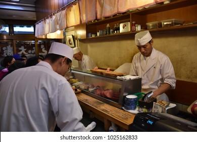 November 17, 2017 - Tokyo, Japan, Sushi Daiwa Restaurant at Tsukiji Market, Sushi Daiwa, famous restaurant among tourists